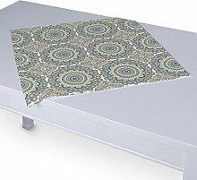 Dekoria Tischdecke mit breitem Saum 60 x 60 cm blau-grau
