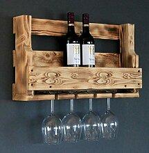 Dekorie Holz Weinregal mit Gläserhalter geflammt
