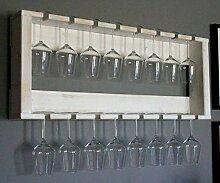 Dekorie Weinglasregal aus massivem Holz - Farbe: