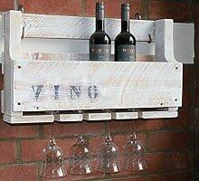 dekorie67 Holz Weinregal mit Gläserhalter fertig