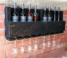 dekorie67 Holz Weinregal mit Gläserhalter Vintage