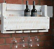 dekorie67 Holz Weinregal mit Gläserhalter weiß