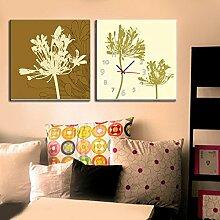 dekoriert Wanduhr goldenen blumen rahmenlose Wandbilder Kunst Leinwand Gemalt Wanduhr , 50*50cm