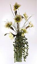 dekorierte Bodenvase mit Kunstblumen Deko grün