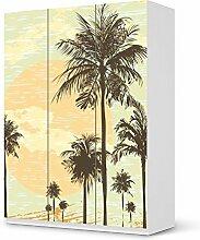 Dekorsticker für IKEA Pax Schrank 201 cm Höhe - 3 Türen   Klebefolie Möbel-Folie Sticker Möbeltattoo   Einrichtung gestalten Gestaltungsideen   Design Motiv Beach Palms