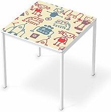 Dekorsticker Kinder-Möbel für IKEA Melltorp Tisch 75x75 cm | Möbelfolie selbstklebend umgestalten | Ideen für Erlebnisraum Wohnen | Kids Kinder Crazy Robots