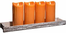 Dekoschale Holz Tablett 59x14cm inkl. 4 LED Kerzen