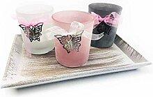 Dekoschale inkl. 3x Teelichtglas Schmetterling -