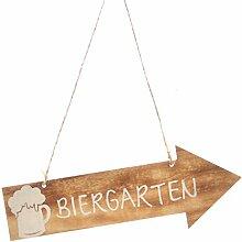 Dekoschild BIERGARTEN - Holzschild - Anhänger - Gartendeko - Pfeil - Türschild