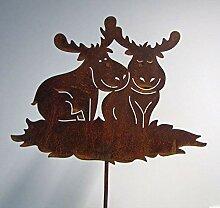 Dekostecker Elch Paar Edelrost H 80 cm Beetstecker