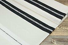 Dekostoff mit Streifen - in schwarz H 140cm als Maßanfertigung (1 lfm)