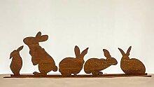 Dekostüberl Edelrost Hasen auf Bodenplatte (1