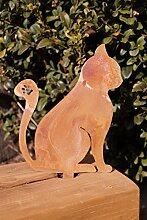 Dekostüberl Edelrost Katze zum Stecken klein 14 x