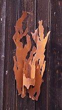 Dekostüberl Edelrost Wand-Fackel für Kerzen