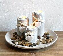 Dekotablett Teelichthalter Holz Herz Kerzentablett
