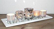 Dekotablett Windlicht Teelichthalter Glas Silber