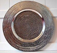 Dekoteller !! 45cm !! Platzteller Teller Tablett Alu Deko Dekoration Edel Deko, Aluminium, silber