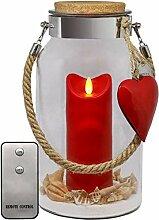 Dekovita 30cm Glas-Laterne m. Outdoor-Kerze Rot u.