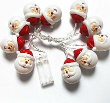 Delaman LED Batterie Lichterkette Innen 20 Mini Weihnachtsmann Kopf Licht für Party Weihnachten Hochzeit Beleuchtung Dekoration, Länge 3m ( Color : Cool White )