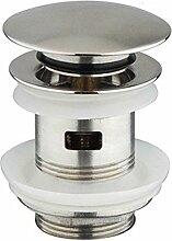 DeLanwa Massiv Edelstahl Ablaufgarnitur Popup Push-Open AblaufVentil Waschtisch / Waschbecken / Spüle / Becken in der Küche mit Überlauf, 607005.0