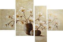 DELAVITA Bild RUMIN / Vase mit Magnolien, (4 St.,