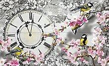 DELESTER DESIGN 1793P8 Papier Peint Murale Compose en 4 Panneaux Nature Fleures Horloge  Multicolore 368 x 254 cm