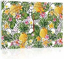 Delester Design Ananas Wanduhr, Glas, Mehrfarbig, 60 x 40 x 4 cm