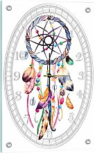 Delester Design Attrape Rêves Wanduhr, Glas, Mehrfarbig, 60 x 40 x 4 cm