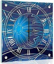 Delester Design Balle Bleue Wanduhr, Glas, Mehrfarbig, 40 x 40 x 4 cm
