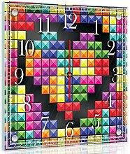 Delester Design Cœur Façon Tétris Wanduhr, Glas, Mehrfarbig, 40 x 40 x 4 cm