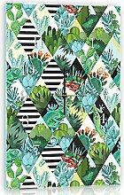 Delester Design Cactus Wanduhr, Glas, Mehrfarbig, 60 x 40 x 4 cm