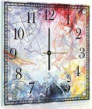 Delester Design cg10006g7Zeichnung abstrakt bunt Wanduhr aus Glas (déco-vitre) Glas bunt 40x 40x 4cm