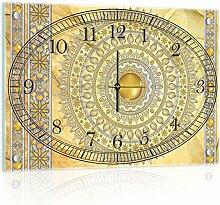 Delester Design cg10117g3Mandala Gold Wanduhr aus Glas (déco-vitre) Glas mehrfarbig 60x 40x 4cm