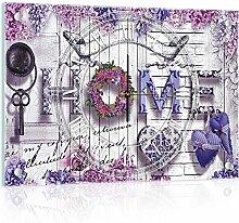 Delester Design cg10234g3Home–Schriften mit der Blumen Wanduhr aus Glas (déco-vitre) Glas mehrfarbig 60x 40x 4cm