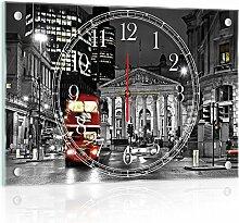Delester Design cg10241g3Bus rot mit doppeltem Stock in London (double-decker) Wanduhr aus Glas (déco-vitre) Glas mehrfarbig 60x 40x 4cm