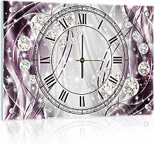 Delester Design cg10404g3Abstrakt und Diamanten Wanduhr aus Glas (déco-vitre) Glas mehrfarbig 60x 40x 4cm