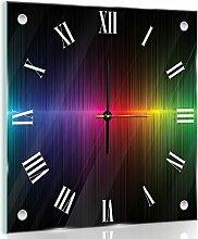 Delester Design cg10441g7Seismogramm Regenbogen Wanduhr aus Glas (déco-vitre) Glas bunt 40x 40x 4cm
