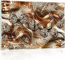 Delester Design cg10576g3Diamant Abstrakt Wanduhr aus Glas (déco-vitre) Glas mehrfarbig 60x 40x 4cm