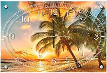 Delester Design cg20038g3den Tropen Sunny Wanduhr aus Glas (déco-vitre) Glas mehrfarbig 60x 40x 4cm