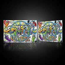 Delester Design cg20208g3Graffiti bunt Wanduhr aus Glas (déco-vitre) Glas mehrfarbig 60x 40x 4cm