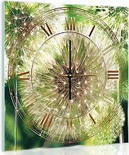 Delester Design cgb10221g7Pusteblumen auf Boden grün Wanduhr aus Glas (déco-vitre) Glas bunt 40x 40x 4cm