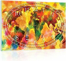 Delester Design cgb10423g3Bunte Weltkarte Wanduhr aus Glas (déco-vitre) Glas mehrfarbig 60x 40x 4cm