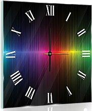 Delester Design cgb10441g7Grafik Regenbogen Wanduhr aus Glas (déco-vitre) Glas bunt 40x 40x 4cm