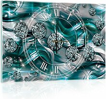 Delester Design cgb10578g3Abstrakt Diamant Wanduhr aus Glas (déco-vitre) Glas mehrfarbig 60x 40x 4cm