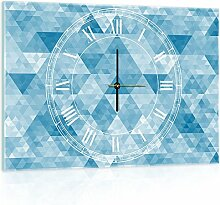 Delester Design cgb10785g3Dreiecke Wanduhr aus Glas (déco-vitre) Glas mehrfarbig 60x 40x 4cm