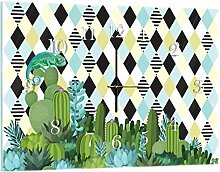Delester Design Chameleon Wanduhr, Glas, Mehrfarbig, 60 x 40 x 4 cm
