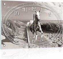 Delester Design Cheval Au Galop Sur Une Plage De Sable Wanduhr, Glas, Mehrfarbig, 60 x 40 x 4 cm