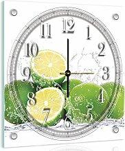 Delester Design Citron Vert Wanduhr, Glas, Mehrfarbig, 40 x 40 x 4 cm