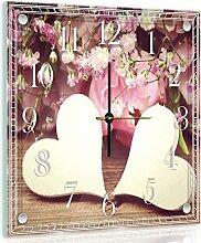 Delester Design Coeurs Et Roses Wanduhr, Glas, Mehrfarbig, 40 x 40 x 4 cm
