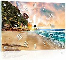 Delester Design Coucher De Soleil Wanduhr, Glas, Mehrfarbig, 60 x 40 x 4 cm
